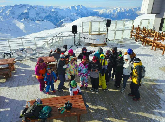 A group shot of the gang in beautiful Les Deux Alpes