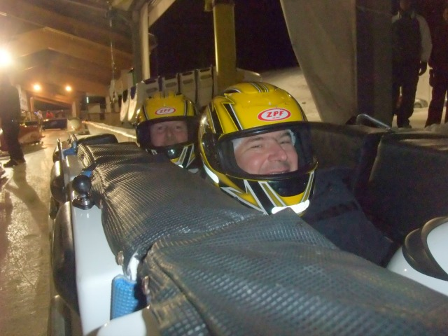 Squeezed into a bobsleigh